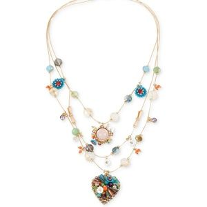 Betsey Johnson Multi-Colored bead flower Necklace